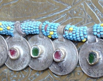 Turquoise Kuchi beaded string of real jewel coins