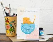 Happy Birthday, Cat Teacup Card, - Free Postage