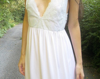 breathless - organic cotton bamboo with vintage 70's lace backlace white maxi dress - bohemian chic hippie festival wedding small
