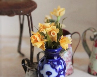 Daffodils in blue vase dollhouse miniature 1 inch scale