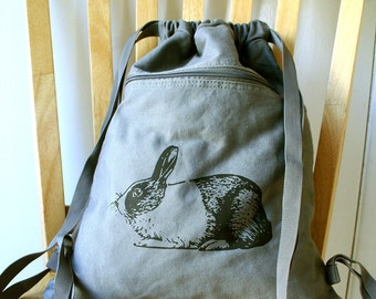 Rabbit Canvas Backpack Bunny Bag Drawstring Backpack