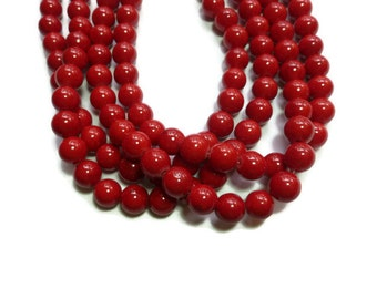 Cherry Red Mountain Jade - 10mm Round Bead - Full Strand - 40 beads - Scarlet Crimson - Mashan jade