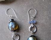 Ioilite Sky Basha Bead Earrings. Coastal Twilight. Keshi Pearl, Sterling Silver Dangle Dichroic Glass. UNIQUE Gift. FREE Shipping
