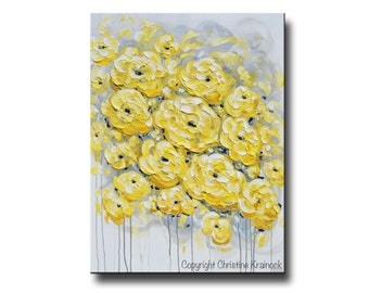 ORIGINAL Art Abstract Painting Yellow Grey Flowers Colorful Modern Large Art Acrylic Painting Wall Art Peonies Textured - Christine Krainock