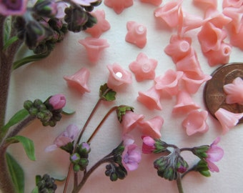 50 Vintage  Celluloid Trumpet Bell Flower Bead