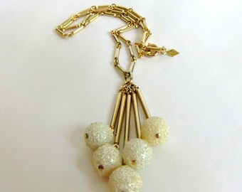 Vintage Sarah Coventry Necklace - Winter White, Gold, Snowballs, Dangle, Pendant, 1960's, Ivory, Sweater, Bar Link Chain, Mid Century Modern