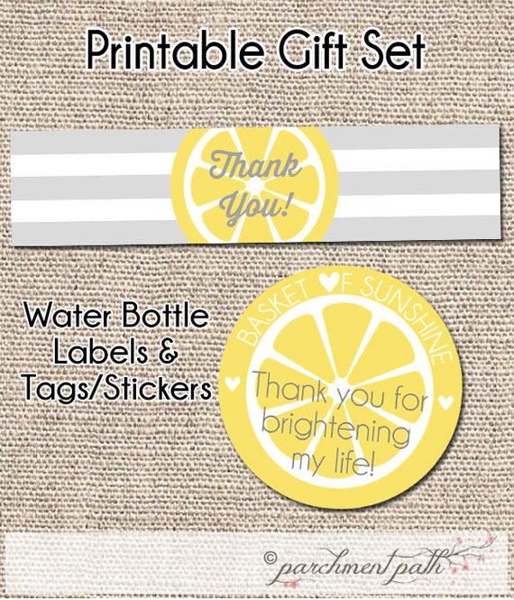 Thank You Printable Set - Water Bottle Labels - Basket of ...