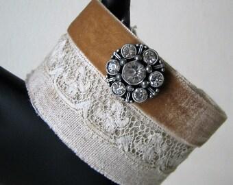 Art Cuff Bracelet Textile Cuff Shabby OOAK Wrist Cuff Wearable Art