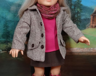 Contemporary coat, tee, skirt, boots, infinity scarf and boot cuffs forAmerican Girl or similar 18 inch doll.