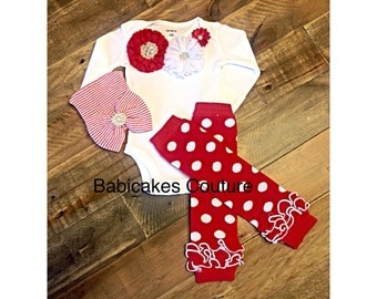 Newborn Girl Christmas Outfit, Baby's 1st Christmas Outfit, Going Home Outfit, New Baby Girl Outfit, Hospital Take Home Outfit, Red Layette
