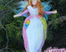 Spring Fairy /Guardian Angel with soft auburn hair mobile by Castle of Costa Mesa