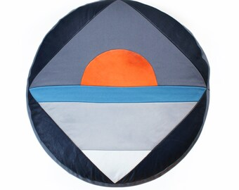 Sun Rise pouffe - navy, grey & orange