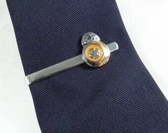 Silver Tie Clip Tie Bar,   Star Wars BB8  Enameled  Mens Accessories  Handmade