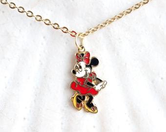Vintage Minnie Mouse Necklace - Disney Cartoon Pendant on Chain