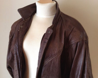 1980's Distressed Leather Jacket, Ladies Brown Bomber Style Jacket, Size Medium