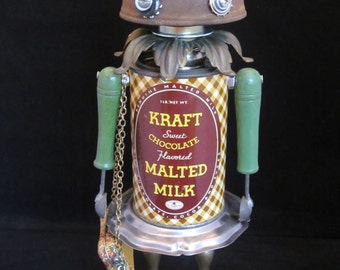 Cocoa Bot - found object robot sculpture assemblage by Cheri Kudja with Bitti Bots