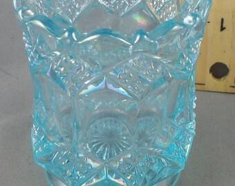 Vinatge Aqua Glass Votive Candle Holder Shabby Chic Cottage Decor