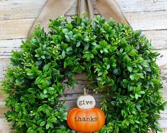Pumpkin Wreath - Fall Wreath - Thanksgiving Wreath - Boxwood Wreath - Choose Bow