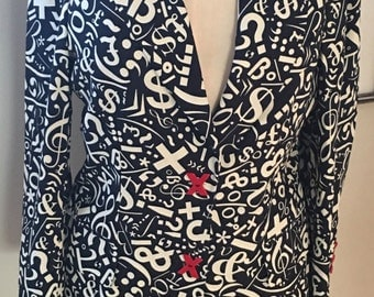 Vintage Moschino Cheap and Chic Moschino Black and White Symbols Sign Jacket Blazer