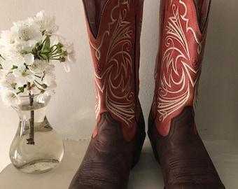 Pink and Brown ATS - Ariat  Cowboy Mid - Calf Boots