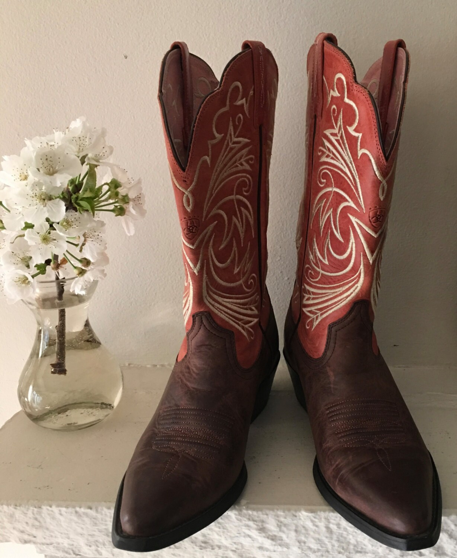 pink and brown ats ariat cowboy mid calf boots