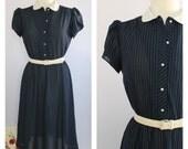 Vintage 1970's Navy Blue Pinstripe Midi Shirt Dress L