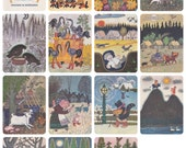 Y. Vasnetsov -- Russian Folk Tales and Songs. Set of 14 Postcards (out of 16) in original cover -- 1970. Good cond., cover 9/10