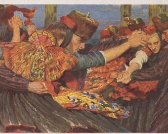 """Vintage German Postcard -- Karl Bantzer """"Hessian peasants dancing"""" -- 1960s"""