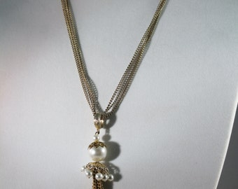 Older Golden Multi Strand With Faux Pearls Drop Pendant Necklace