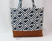 Extra Large Lulu Diaper Tote Shakes Navy and PU Leather Side Rings READY to SHIP