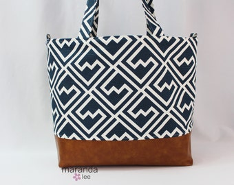 SALE Extra Large Lulu Diaper Tote Shakes Navy and PU Leather  READY to SHIp Side Rings