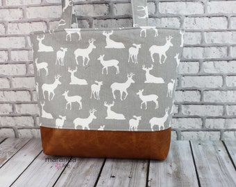 Lulu Large Tote Diaper Bag Grey Deer and PU Leather -READY to SHIP Southwestern 6 pockets Nappy Bag