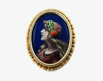 Antique French Limoges Fired Enamel Brooch with Renaissance Revival Hand Painted Portrait