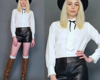 vintage 60s white mod button up blouse // ruffle bib // black bow // boho top