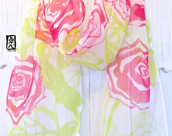 Silk Scarf Handpainted, Chartreuse Green and Red Roses Scarf, Silk Scarves Takuyo, Rock and Roses Scarf, Gift for her, 8x54 inches.