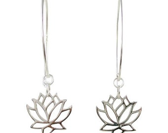 Lotus Dangle Earrings, Lotus Earrings, Lotus Flower Earrings, Silver Lotus Earrings, Yoga Jewelry, 8373-ss