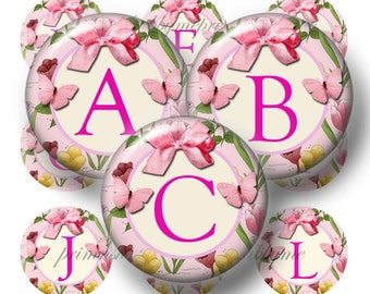 Alphabet, Letters, Bottle Cap Images, Pink, Floral, Butterfly, Bows, 1 Inch Circles Digital Collage Sheets (FGA) Instant Download,