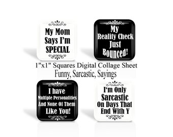 Funny, Sarcastic, Sayings, 1 Inch Square, Digital Collage Sheet, 1 x 1 Inch, For Glass Tiles, Pendants, Magnets, Cabochon, Square Images