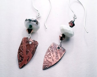 Etched Copper Chrysoprase Earrings white shield primitive