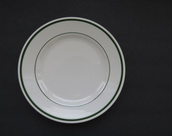 Vintage Buffalo China Side Salad Bread Butter Plate - White with Double Green Bands - Restaurant Ware - Collectible Ironstone Plate Dishes