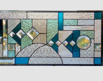 Blue aqua abstract stained glass panel window geometric stained glass window panel window hanging 0166 22 1/2 x 11 1/2