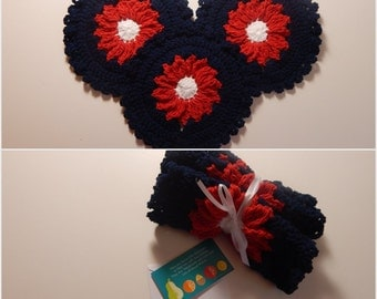 Crochet Dishcloth Gift Set – Includes Gift Card – Flower - Red White and Blue