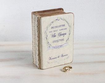 Rustic Ring Bearer Box Lavender Wedding Box Personalized Ring Box Pillow Alternative Ring Holder Large Wedding Ring Box  Custom Ring Box
