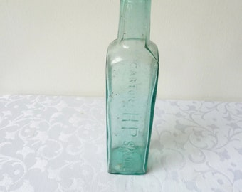 Antique 1910's Gartons HP Sauce Bottle, Aqua, Turquoise Glass Bottle, Antique Bottle, Glass Ware, Collectible Bottle