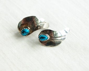 Turquoise Feather Earrings Vintage Southwestern Pierced Posts Studs Sterling Silver Native American Feathers