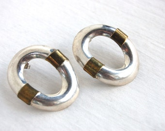 Mixed Metal Hoop Earrings Mexican Sterling Silver Pierced Posts Statement Hoops Vintage Taxco Mexico Jewelry