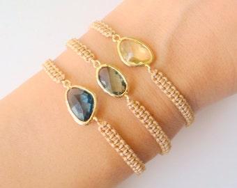 Bohemian Bracelet Stack with Gold Connectors - Three Macrame Bracelets