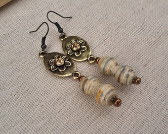 Ivory & gold paper bead earrings ~ One of a Kind Paper Bead Jewelry