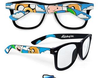 Adventure Time custom wayfarer glasses Finn and Jake personalized unique gift geek accessories for men women clear lens Prescription frames