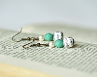 Anne of Green Gables, Gilbert Blythe and Anne Shirley literary lovers earrings, book page bead and green bead
